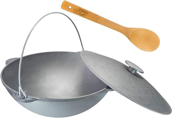 Olla giratoria Kazan de 15 litros, para camping, de hierro fundido con asa y tapa + cuchara de cocina, asador, barbacoa, carbón, caldera, cocina ...
