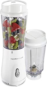 Hamilton Beach Personal Blender for Shakes and Smoothies with 2 BPA-Free Portable 14oz Travel Jars, (51102V), White w/Gray Button