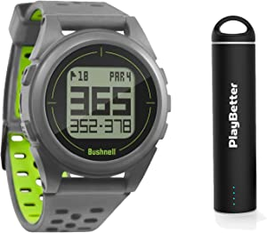 Bushnell iON2 Golf GPS Watch (Silver/Green) Power Bundle   with PlayBetter Portable USB Charger   Simple, Intuitive Golf GPS Watch   36,000+ Worldwide Courses   2018 Version