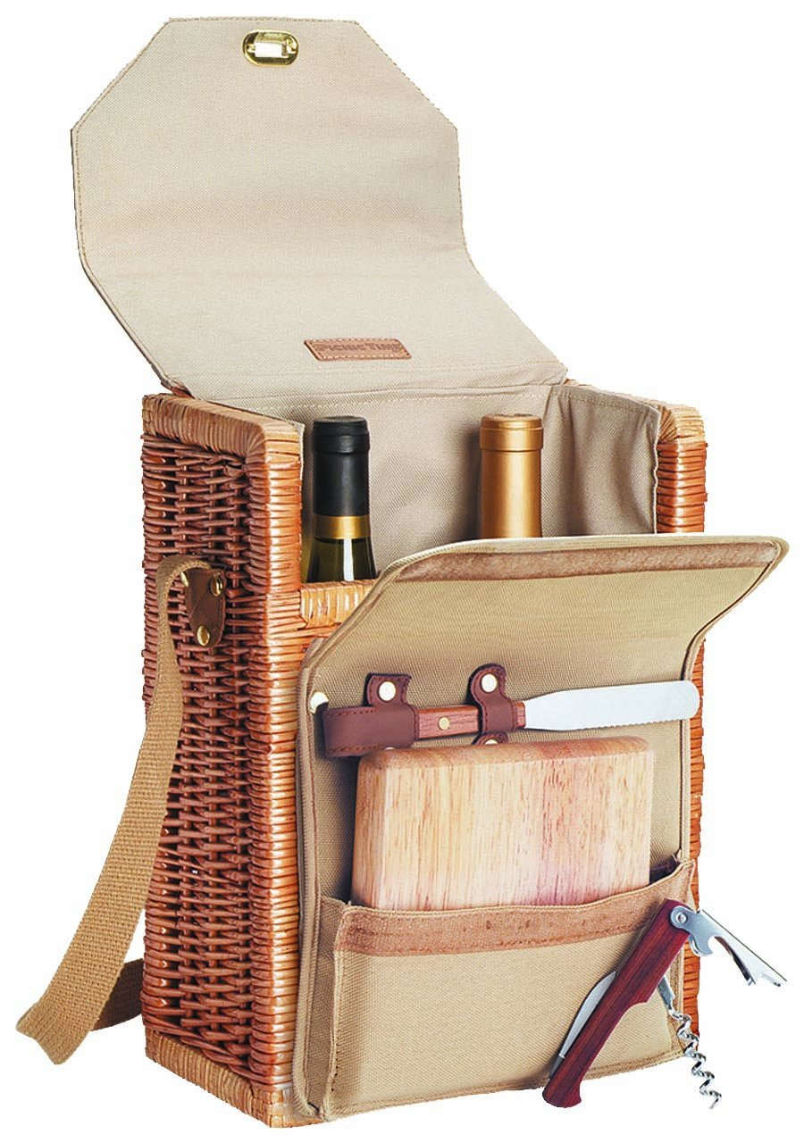 Picnic Time Corsica Insulated Wine Basket with Wine and Cheese Accessories (Renewed)