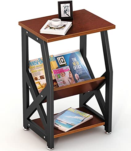 Tribesigns Chairside End Table Nightstand With Storage Shelves For Bedroom,  Living Room, Entryway,