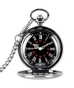 Naisicatar - Reloj de bolsillo (movimiento de cuarzo, números árabes y romanos, esfera negra)