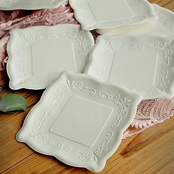 Wedding Plates. 7\u0026quot; Square Plates. Set of 16. Scalloped Edge Paper Dessert & Amazon.com: Wedding Plates. 7\