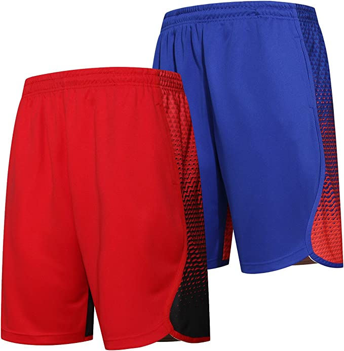 Mens Athletic Shorts XL Red Black Mesh Basketball Workout Gym Running Pockets
