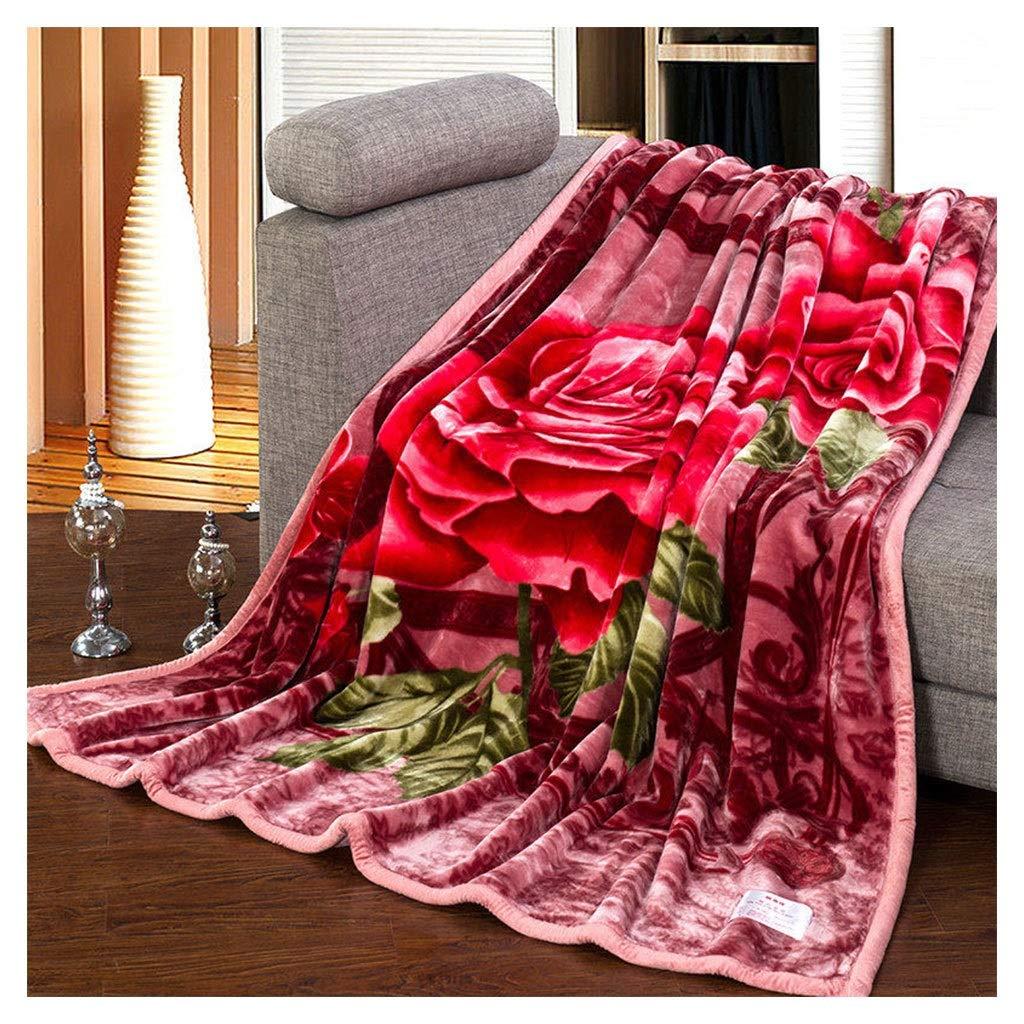 LINGZHIGAN 厚い毛布スーパー柔らかいふわふわ二重暖かい牡丹のパターン居心地の良いソファベッド毛布を投げる200 * 230cm B07LBPHBWR