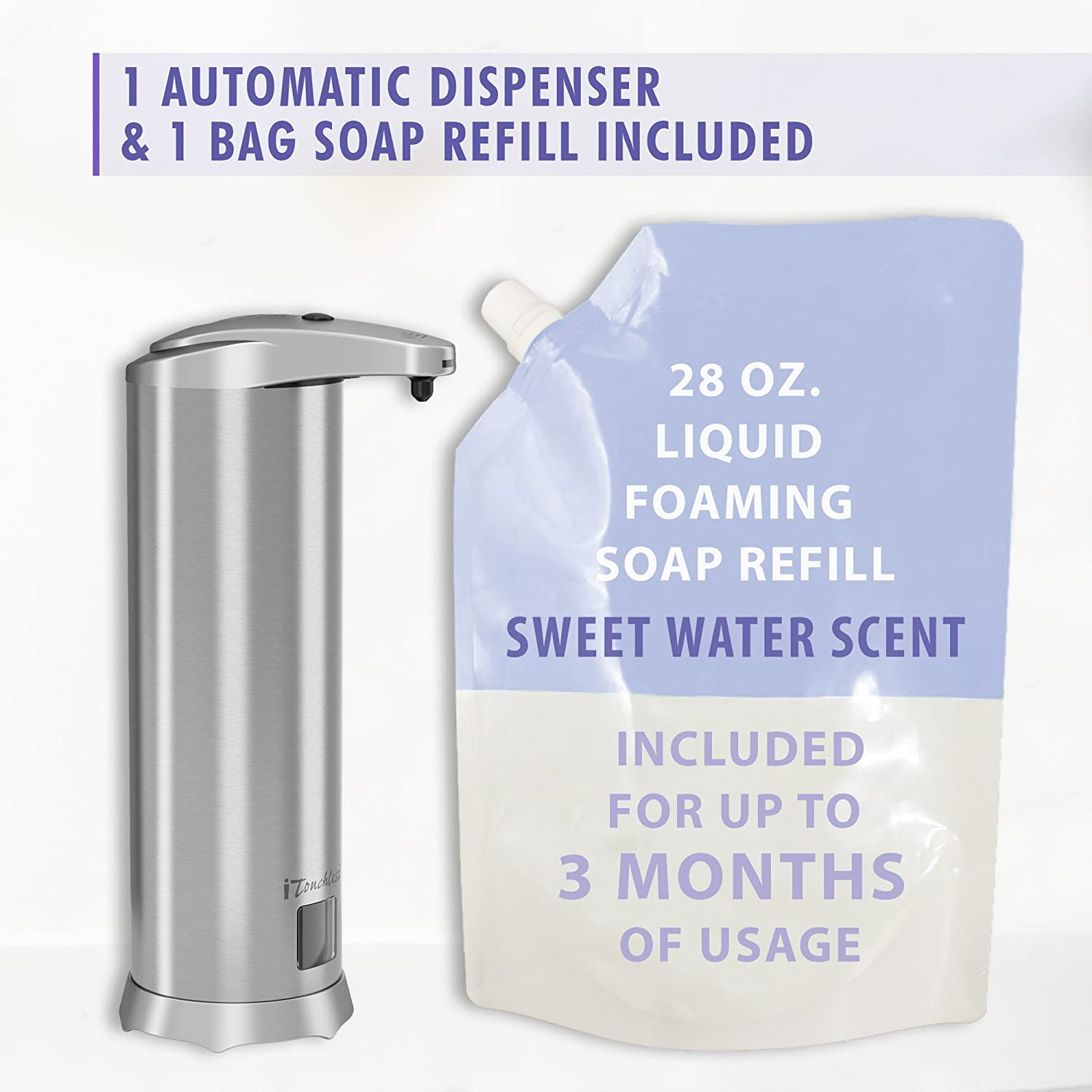 Rust-Free Touch-Free Stainless Steel SFC001SM iTouchless Ultraclean Automatic Sensor Foam Soap Dispenser Sea Mineral