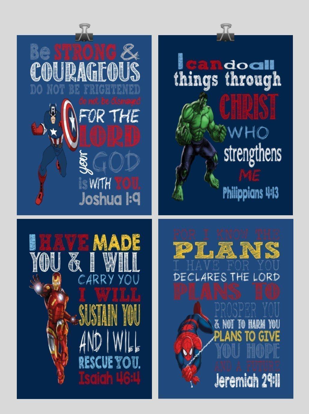 Christian Superhero Nursery Decor Art Print Set of 4 - Captain America, Hulk, Ironman and Spiderman - Multiple Sizes