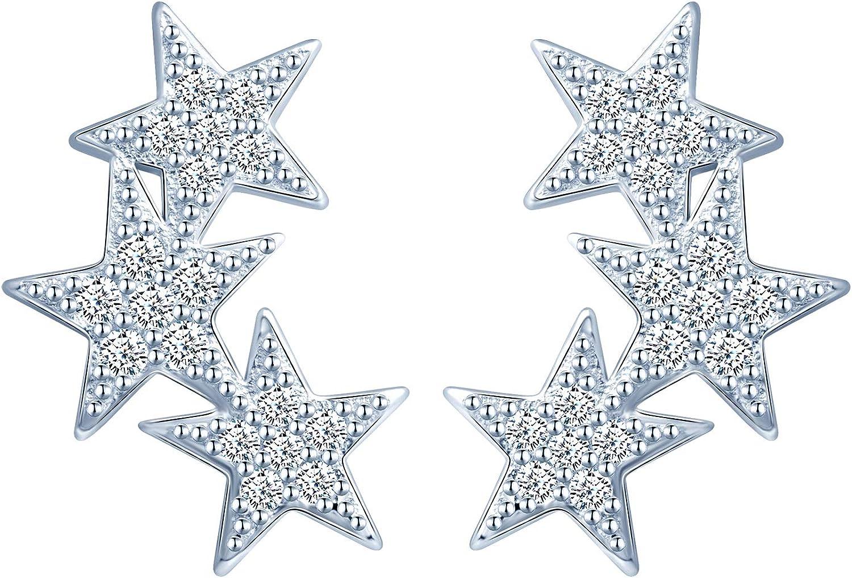 Clous doreilles /étoile incrust/ées de zircon brillant Cadeau pour Anniversaire Inifinite U Boucles doreilles en argent sterling 925 pour femme fille