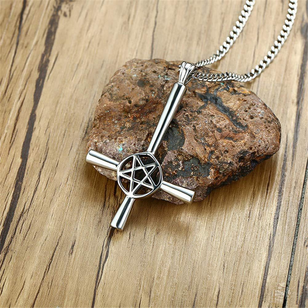 Joielavie Collier Pendentif pour Homme en Acier avec Cha/îne Croix Crucifix Invers/é Rondelle /Étoile Pentacle Creux Simple Bijoux Cadeau
