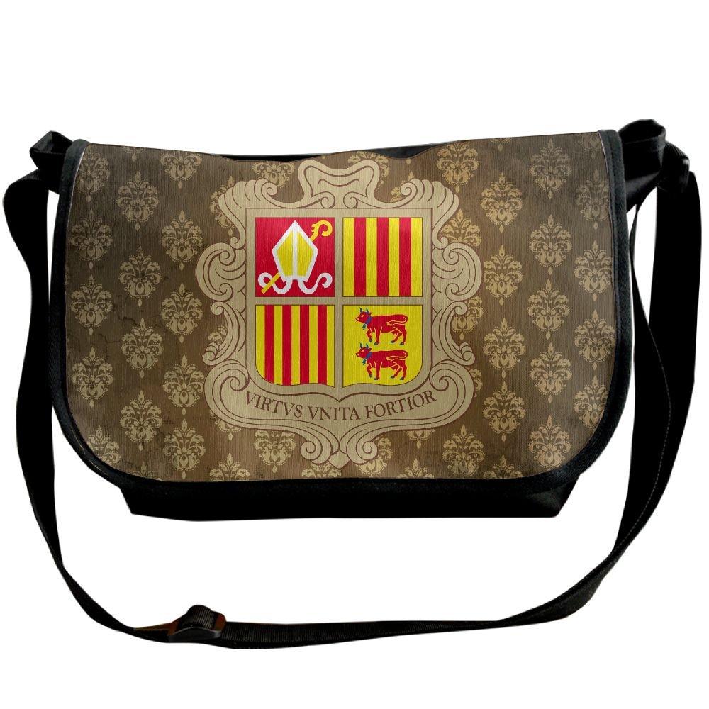 Lov6eoorheeb Unisex Coat Of Arms Of Andorra Wide Diagonal Shoulder Bag Adjustable Shoulder Tote Bag Single Shoulder Backpack For Work,School,Daily