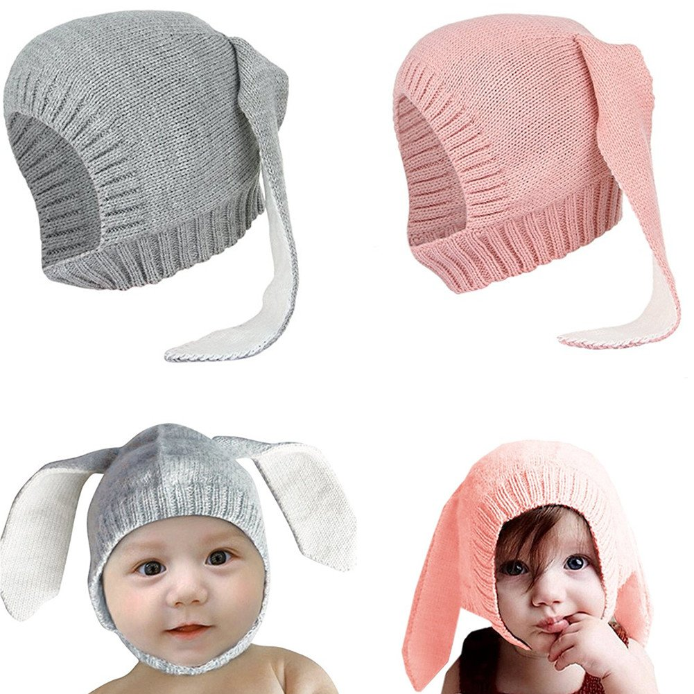 Unisex Baby Cute Knit Beanie Hats Soft Winter Caps for Toddler and Kids (2-Pack) Wellwear