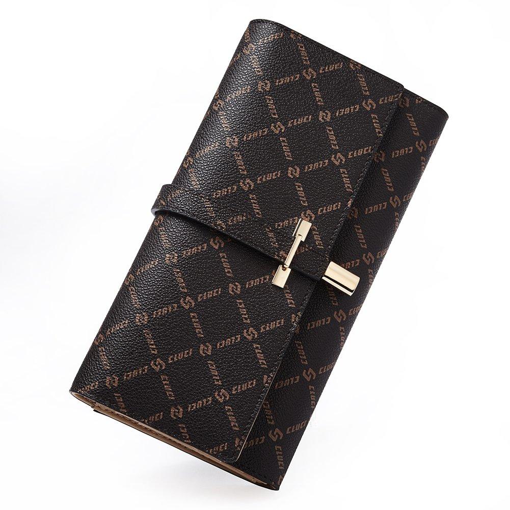 Wallets for Women Rfid Blocking Leather Slim Luxury Ladies Clutch Purse Long Trifold Designer Credit Card&Checkbook Holder Organizer brown