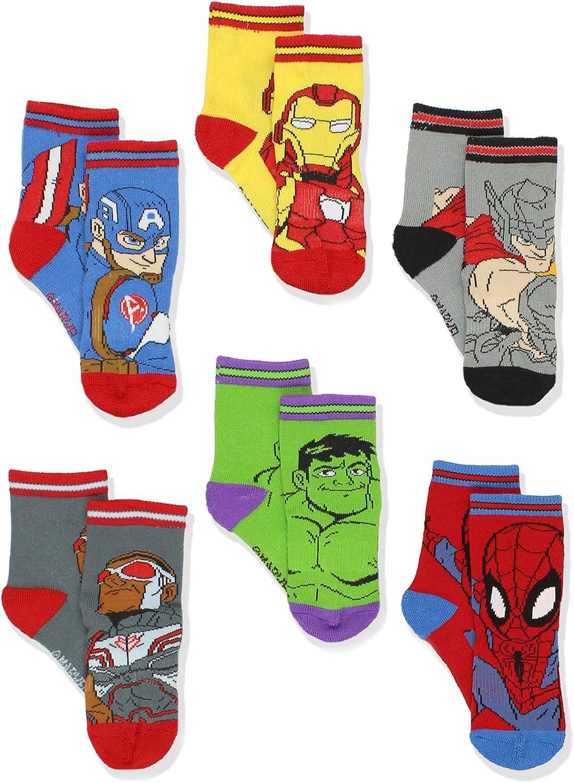 Super Hero Adventures Spider-Man Boys 6 pack Athletic Crew Socks Baby//Toddler