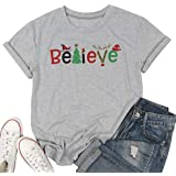 MYHALF Christmas Believe T-Shirt Funny Xmas Gift Women Casual Short Sleeve Tops