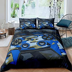 Feelyou Games Comforter Cover Twin Size,Gamepad Bedding Set for Boys,Kids Video Games Duvet Cover Set Modern Gamer Console Action Buttons Quilt Cover Teens Bedroom Decor Camo Navy Blue 2 Pcs