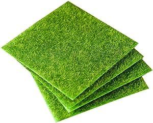 Artificial Grass Turf Fake Moss Decorative Lawn Micro Landscape Decoration DIY Mini Fairy Garden Simulation Plants (6inch/15cm,4pcs)