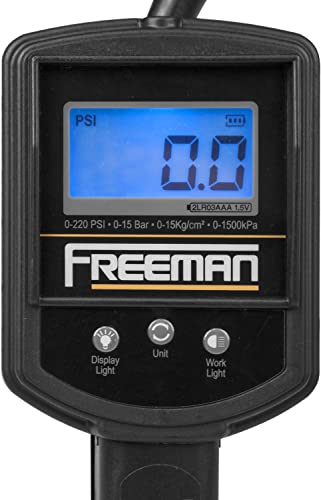 Freeman FS2DTI Digital Tire Inflator with LCD Pressure Gauge and Work Light