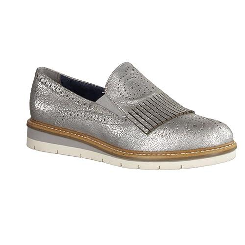 Tamaris - Mocasines para Mujer Plateado Plata 36, Color Plateado, Talla 37 EU: Amazon.es: Zapatos y complementos