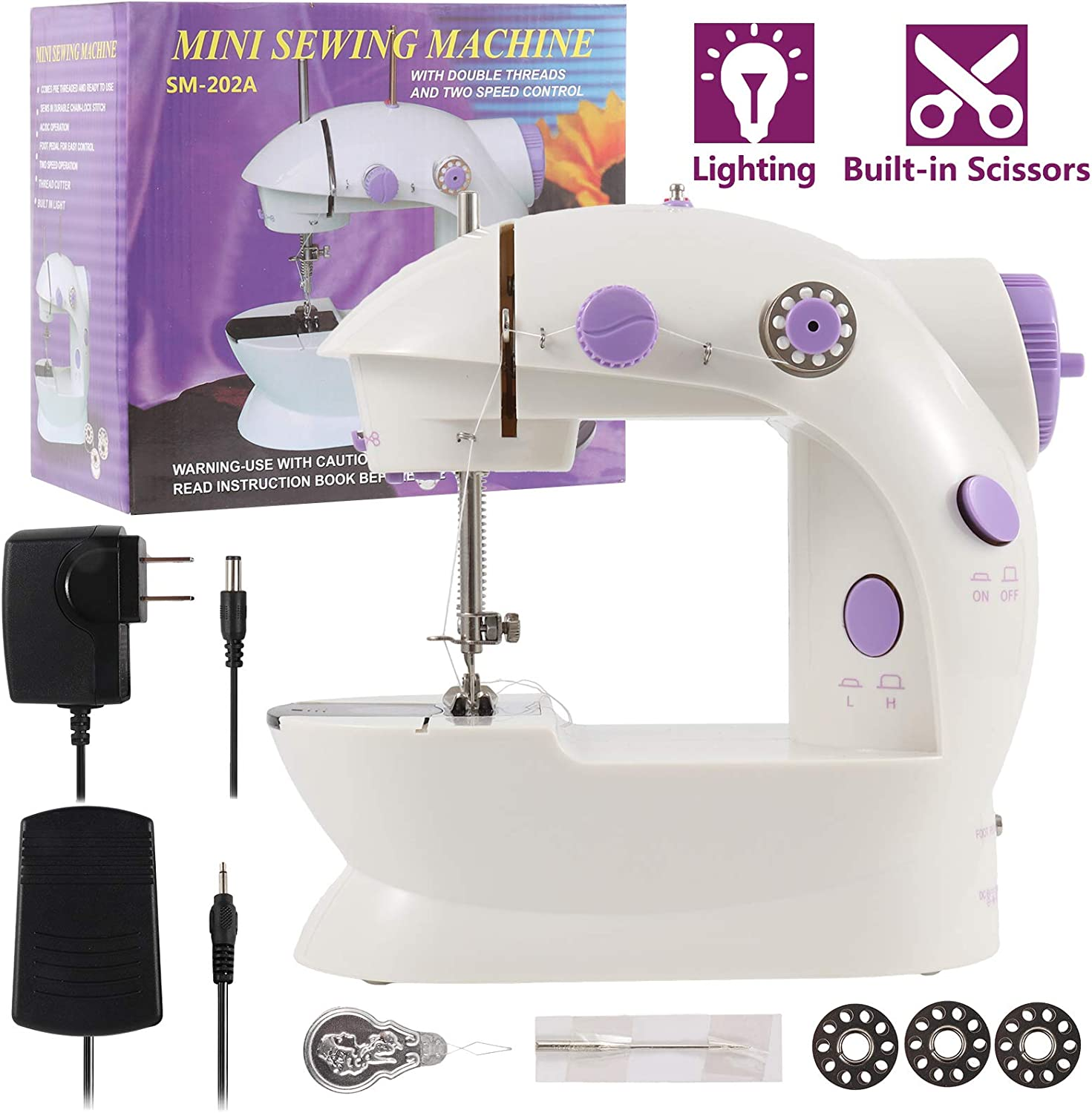 WIOR Mini Sewing Machine for Beginners, Adjustable 2-Speed Double-Thread Electric Sewing Machine, Portable Stitching Machine with Foot Padal, Thread Cutter, Night Light, Perfect for Home Travel Use