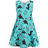 Frogwill Girls Vintage Sleeveless Swing Party Dresses Dinosaur, Unicorn, Little Mermaid Zipper Outfit 2-6Y