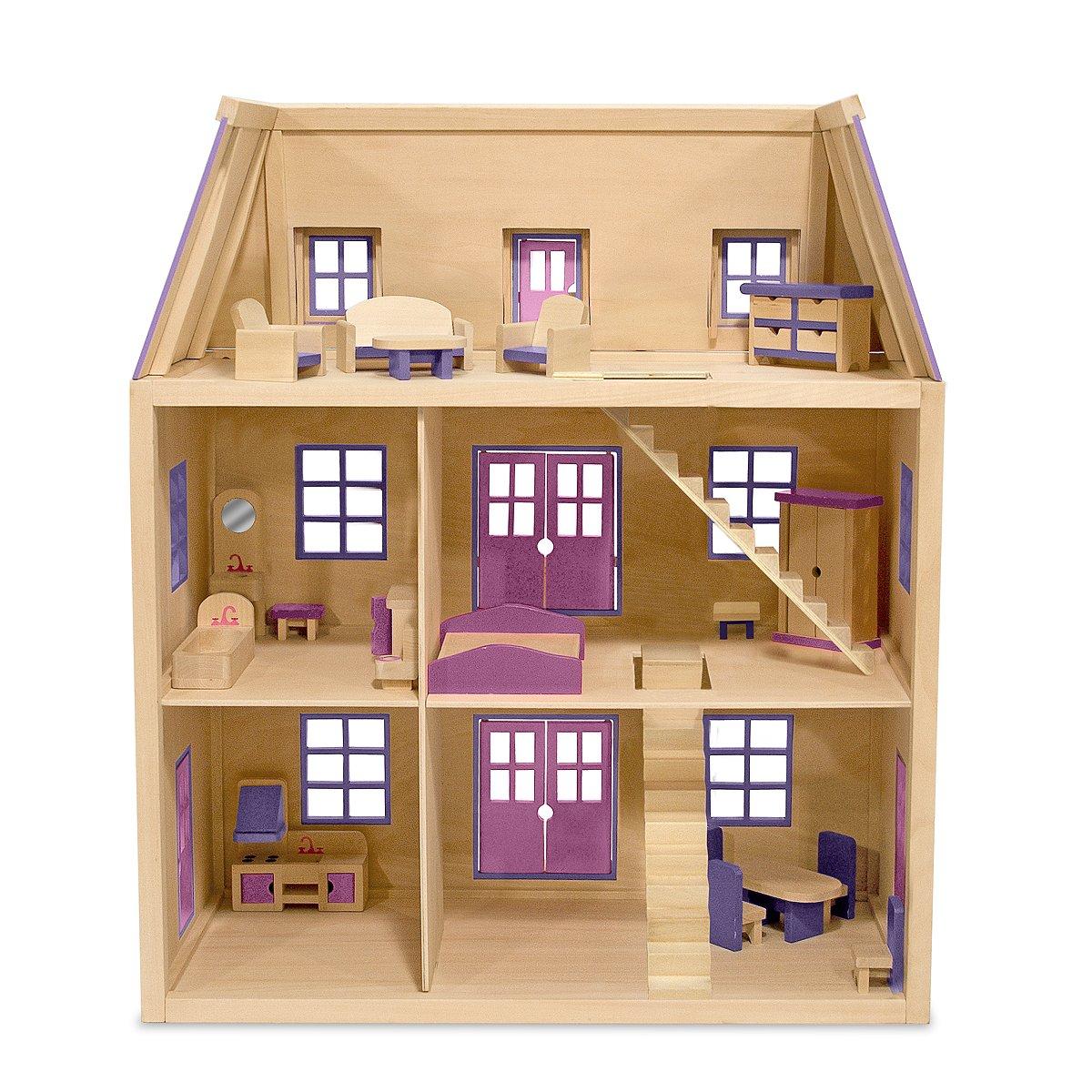 Amazon Com Melissa Doug Multi Level Wooden Dollhouse With 19 Pcs