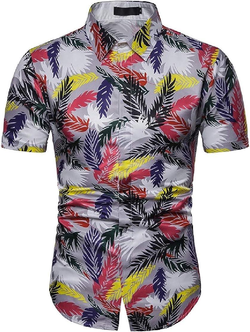 Domple Men Beach Hawaiian 3D Print Regular-Fit Button Front Short Sleeve Shirts