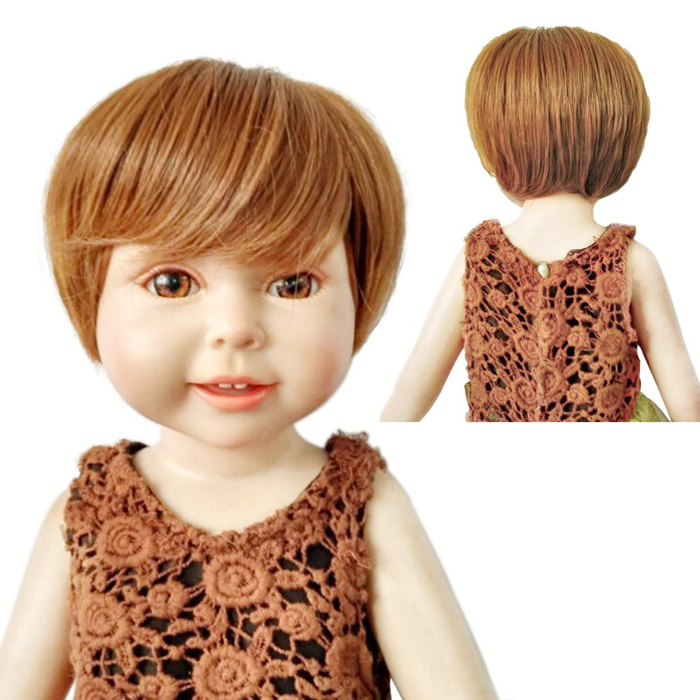 Heavy and Good Shape Cute Short Bob Wig with Full Bangs for 18'' Height American Doll with 10-11'' Head