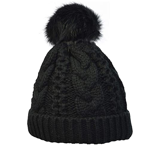 Terra Winter Hand Knit Beanie Hat with Faux Fur Pompom for Women and Men 1d632ae4d2d