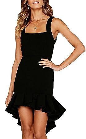 dd4c01a984b ECOWISH Womens Bodycon Backless Cocktail Dress Sleeveless Ruffled Wrap High  Low Sundress Black S