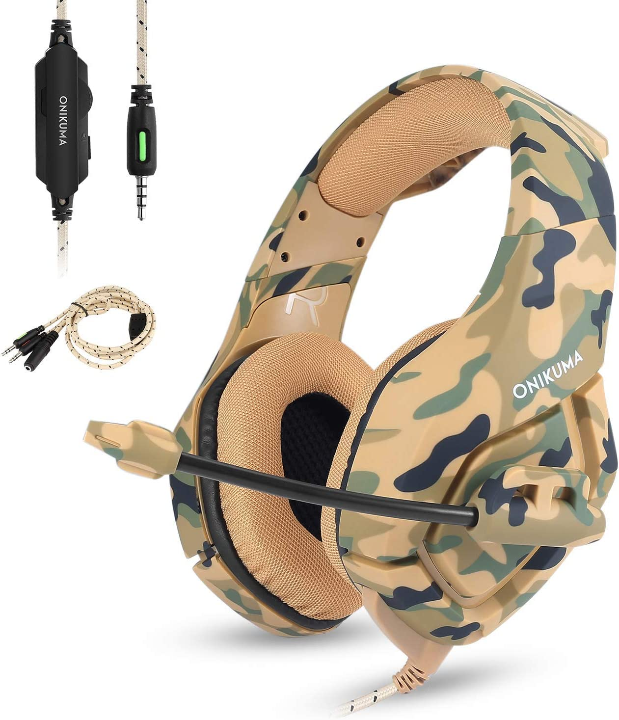 Stereo Gaming Headset Work for PC PS4 Xbox One Controller,Camo Over Ear Headphones with Noise Canceling Microphone,Soft Memory Earmuffs for Laptop Mac-Camouflage