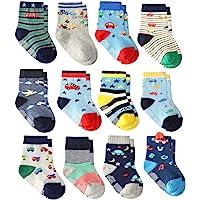 Wobon Calcetines Gruesos de Algodón de 12 Pares para Niños Pequeños, Calcetines Antideslizantes para Niños Pequeños…
