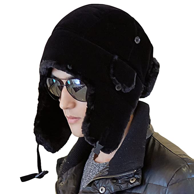 SOOCO Hombres Invierno Cálido Bombardero Sombrero Deportes Al Aire Libre  Máscara A Prueba De Viento Unisex Estilo Ruso Invierno Oído Solapa 8cdd771482f9