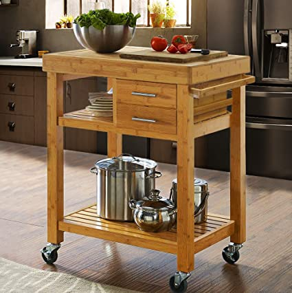 Amazon Com Rolling Bamboo Wood Kitchen Island Cart Trolley Kitchen Trolley Cart On Wheels Rolling Kitchen Cart With Drawers Shelves Towel Rack Locking Casters Sports Outdoors