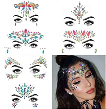14369ab5ae Amazon.com : COKOHAPPY 6 Sets Rhinestone Mermaid Face Jewels Tattoo ...