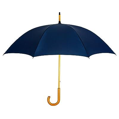 NAVY BLUE Commuter Wooden Shaft Fashion Stick Umbrella