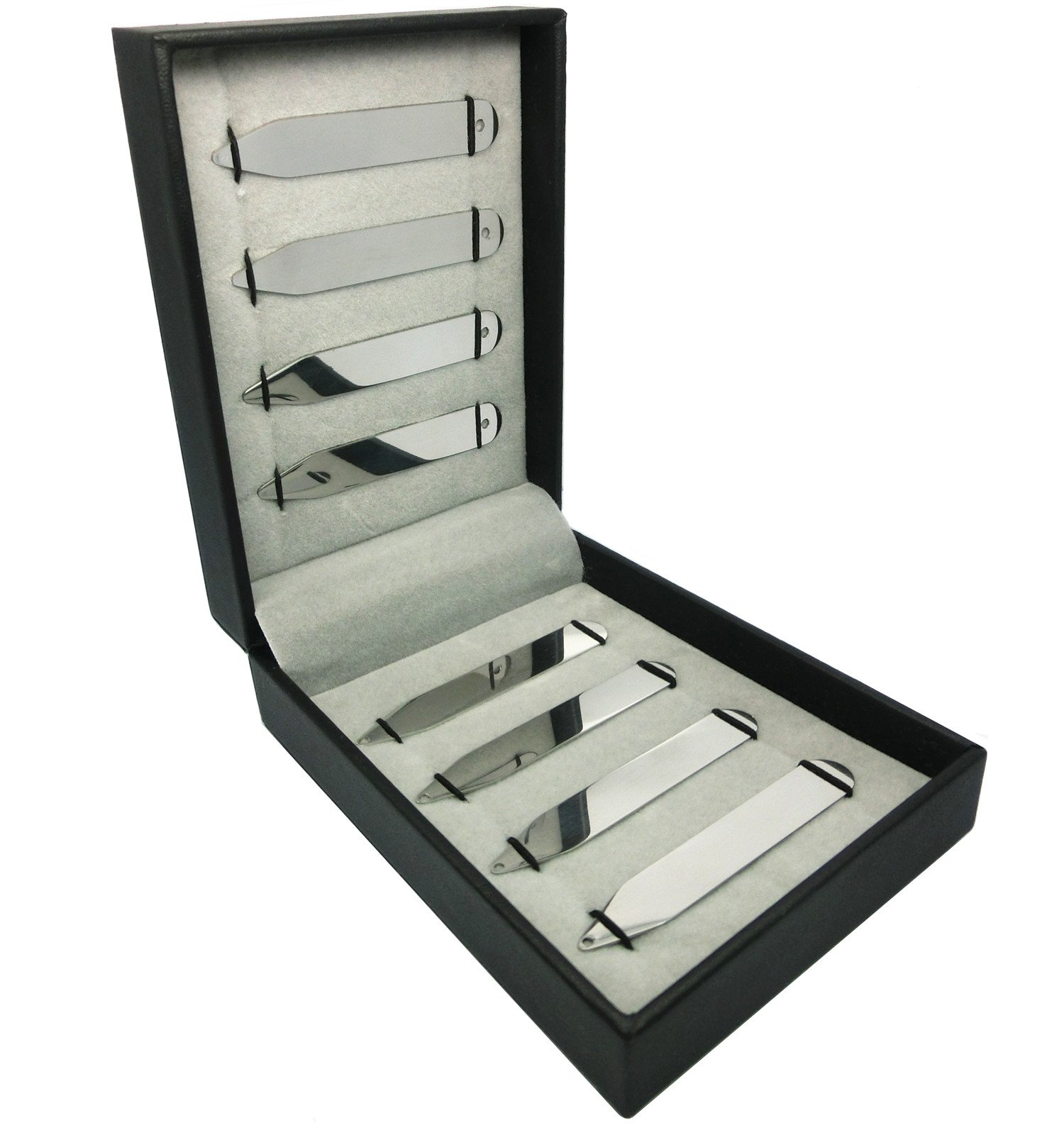 Shang Zun 8 Pcs Stainless Steel Collar Stays with Holes in a Gift Box 2.5''