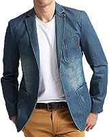 XQS Men's Solid 2 Buttons Denim Suit Sport Coat Pocket Trim