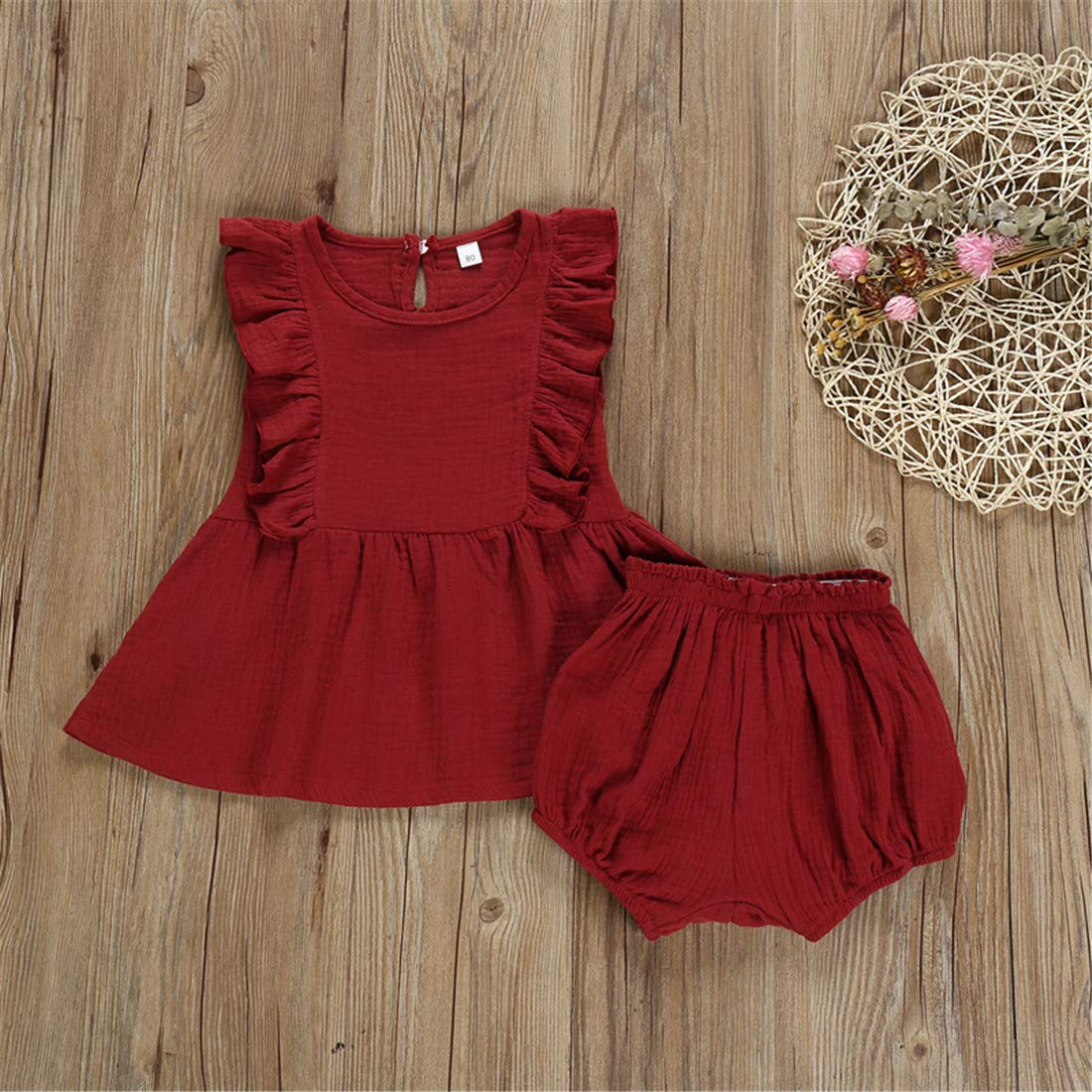 Moore-Direct Toddler Baby Girls Cotton Linen Clothes Sleeveless Ruffle Dress Tops+Bottom Shorts 2Pcs Outfits Set