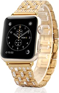 MojiDecor for Latest Apple Watch Band Replacement Jewelry Band Swarovski Crystal Rhinestone Bracelet Wristband Stainless Steel Strap for Sport Edition (42mm -Champagne Gold)