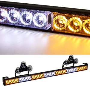 SmallfatW 32 Inch 28 LED Emergency Warning Light Bar Flash Strobe Light Bar Universal Vehicles Truck Traffic Advisor Light with Cigar Lighter and Suction Cups (Amber/White)