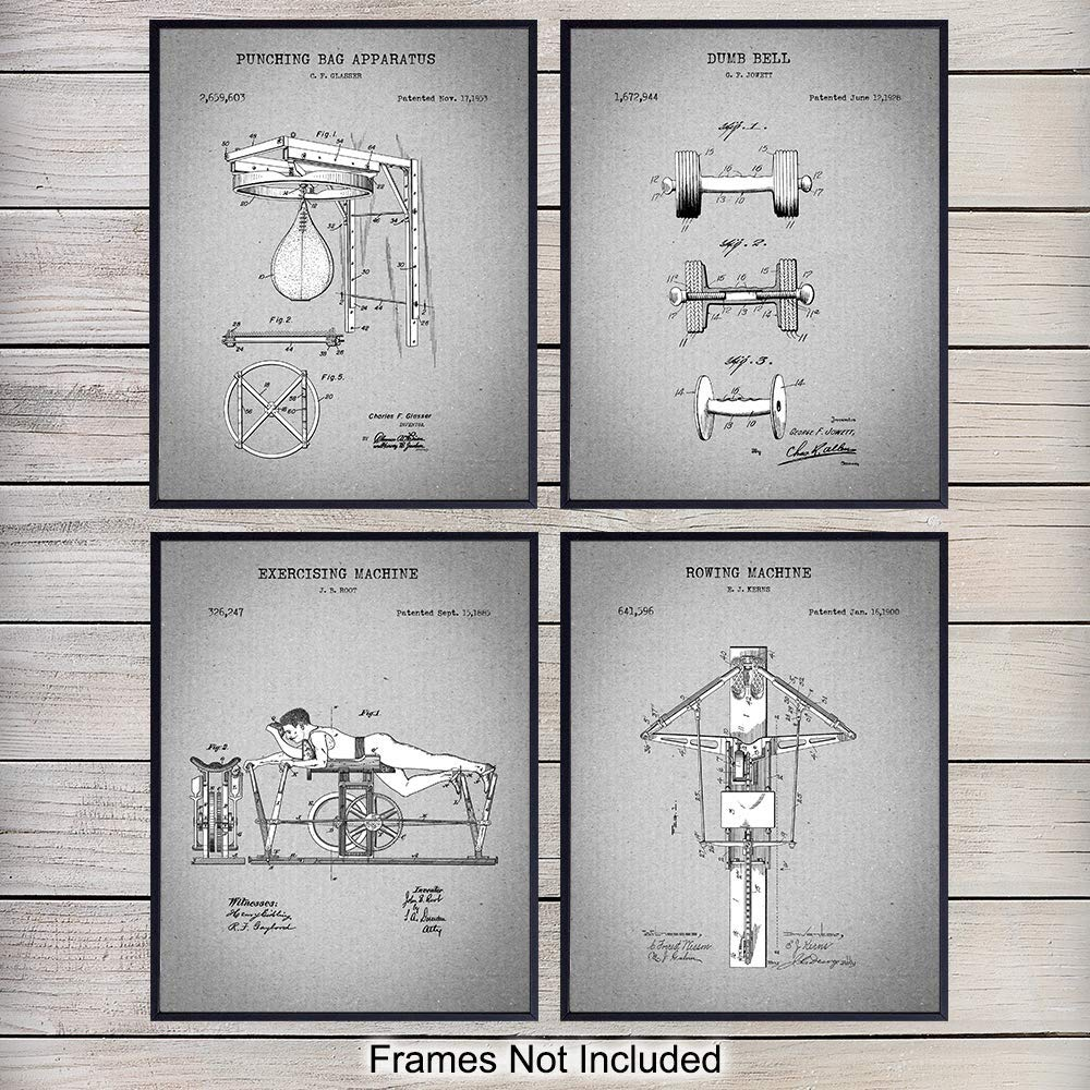 Workout, Athletic Patent Art Prints - Vintage Wall Art Poster Set - Chic Rustic Home Decor for Gym, Man Cave, Office - Gift for Bodybuilding, Weight Lifting, Work Out, Exercise Fans - 8x10 Photo