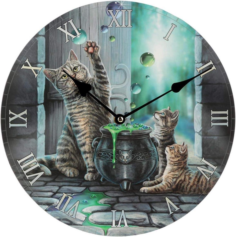 Lisa Parker Reloj de Pared Decorativo, diseño de Burbuja de Gato, Madera MDF, Multicolor, Height 30cm Width 30cm Depth 3.5cm