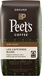 Peet's Coffee, People & Planet, Los Cafeteros Blend, Dark Roast, Ground Coffee, 10.5 oz. Bag, Fair Trade Certified Coffee, Bright but Balanced Citrus Tang, with a Smooth, Mellow Finish