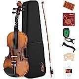 Eastar 4/4 Full Size Violin Set Matte Fiddle for Kids Beginners Students Adults with Hard Case, Rosin, Shoulder Rest, Bow, Tu