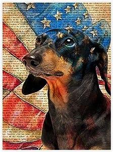 VinMea Decorative Art Printing Poster Dachshund American Flag Poster - Wall Art Print Home Decor 16 X 24 Inch Unframed