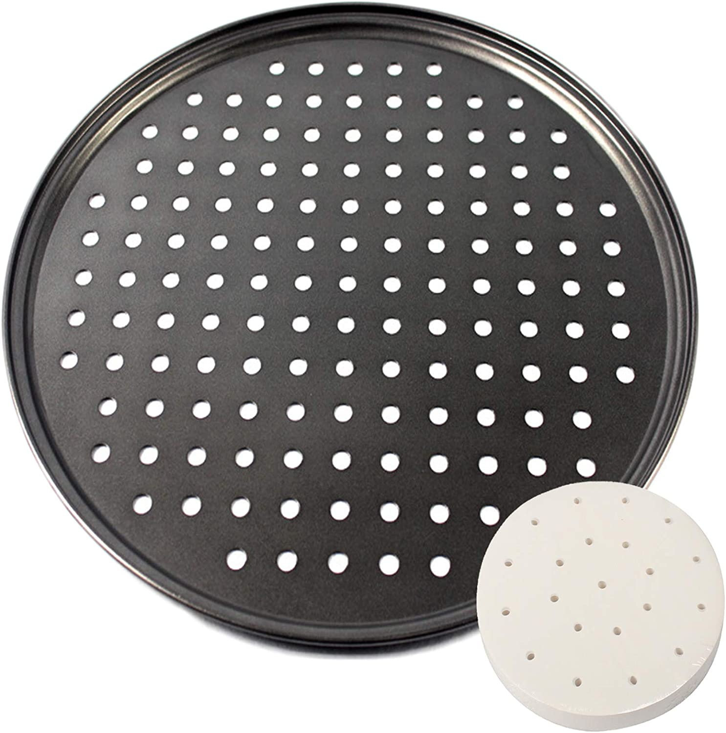 Pizza Pan, Non Stick 12 inch Pizza Pan with Holes, Carbon Steel Perforated Pizza Crisper Pan, Black Round Tray Baking Pan with 11 inch Air Fryer Parchment Paper, Tray Pizza for Home Kitchen Restaurant