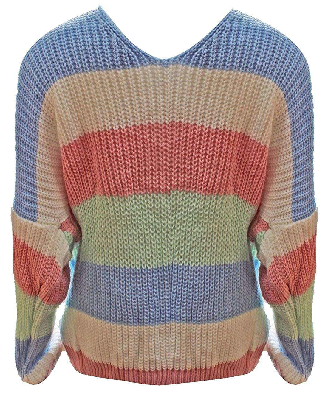 MA ONLINE Ladies Long Sleeve Multi Stripe Back Knot Knitted Sweater Womens Winter Jumper
