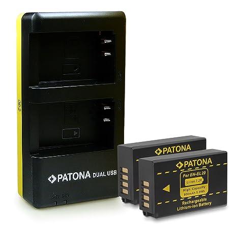 PATONA 2in1 Dual Cargador con micro USB + 2x Batería EN-EL20 para Nikon Coolpix A | 1 AW1 | 1 J1 | 1 J2 | 1 J3 | 1 S1 | 1 V3
