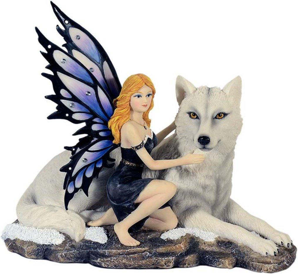 Wunderschöne große Elfenfigur kniet neben weißem Wolf Figur