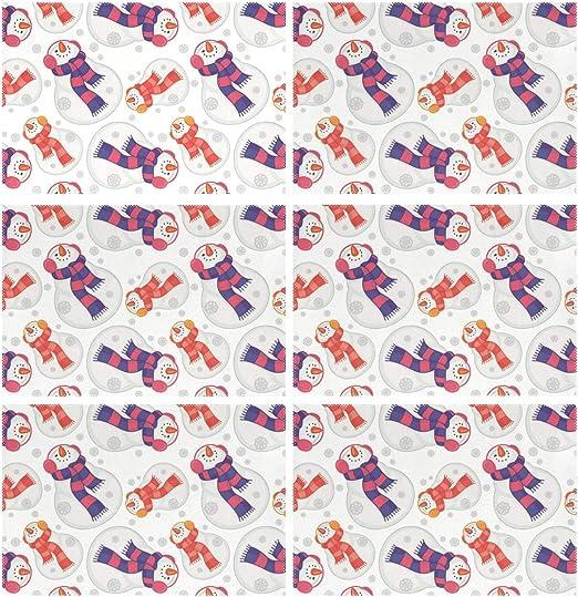 MALPLENA - Juego de 6 manteles de Mesa con diseño de muñeco de Nieve con Bufanda, para Mesa de Comedor, Resistentes al Calor, Antideslizantes, Lavables, 30,5 x 45,7 cm: Amazon.es: Hogar